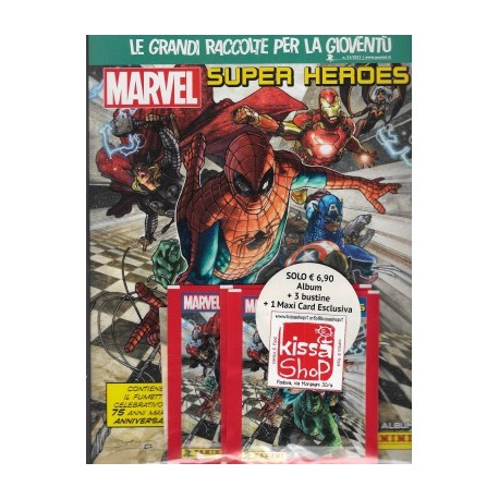 MARVEL SUPER HEROES STICKER ALBUM  ALBUM+3 BUSTINE+1 MAXI CARD ESCLUSIVA