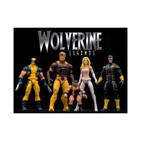 MARVEL LEGENDS WOLVERINE BUILD A FIGURE COLLECTION SET COMPLETO 4 ACTION FIGURE