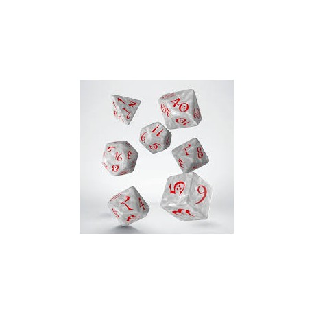 DADI  CLASSIC RPG DICE SET - PEARL & RED