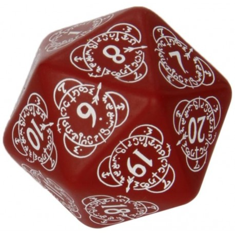 DADI  Q-WORKSHOP LIFE COUNTER DIE D20 RED&WHITE