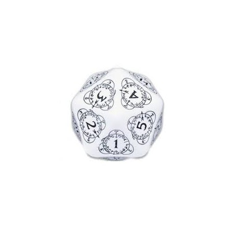 DADI  Q-WORKSHOP LIFE COUNTER DIE D20 WHITE&BLACK