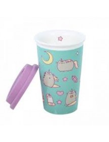 PUSHEEN THE CAT  TAZZA CERAMIC TRAVELMUG