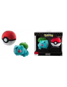POKEMON  PELUCHES BULBASAUR CON POKE BALL 15CM