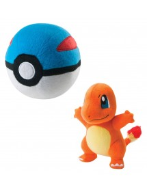 POKEMON  PELUCHES CHARMANDER CON GREAT BALL