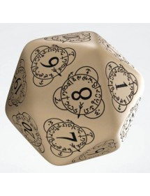 DADI  Q-WORKSHOP LIFE COUNTER DIE D20 BEIGE&BLACK
