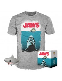 POP TEES JAWS T-SHIRT + FIGURE TG M