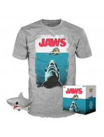 POP TEES JAWS T-SHIRT + FIGURE TG L