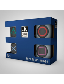 TAZZA PLAY STATION ESPRESSO MUGS 4 PACK - BUTTONS