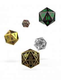 DADI OAKIE DOAKIE DICE SET SPINDOWN D20 METAL (5)